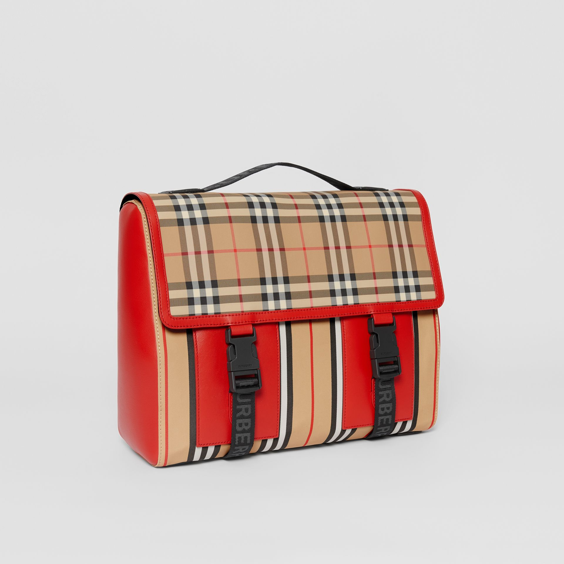 Vintage Check and Icon Stripe Nylon Backpack in Bright Military Red - Children | Burberry - gallery image 4