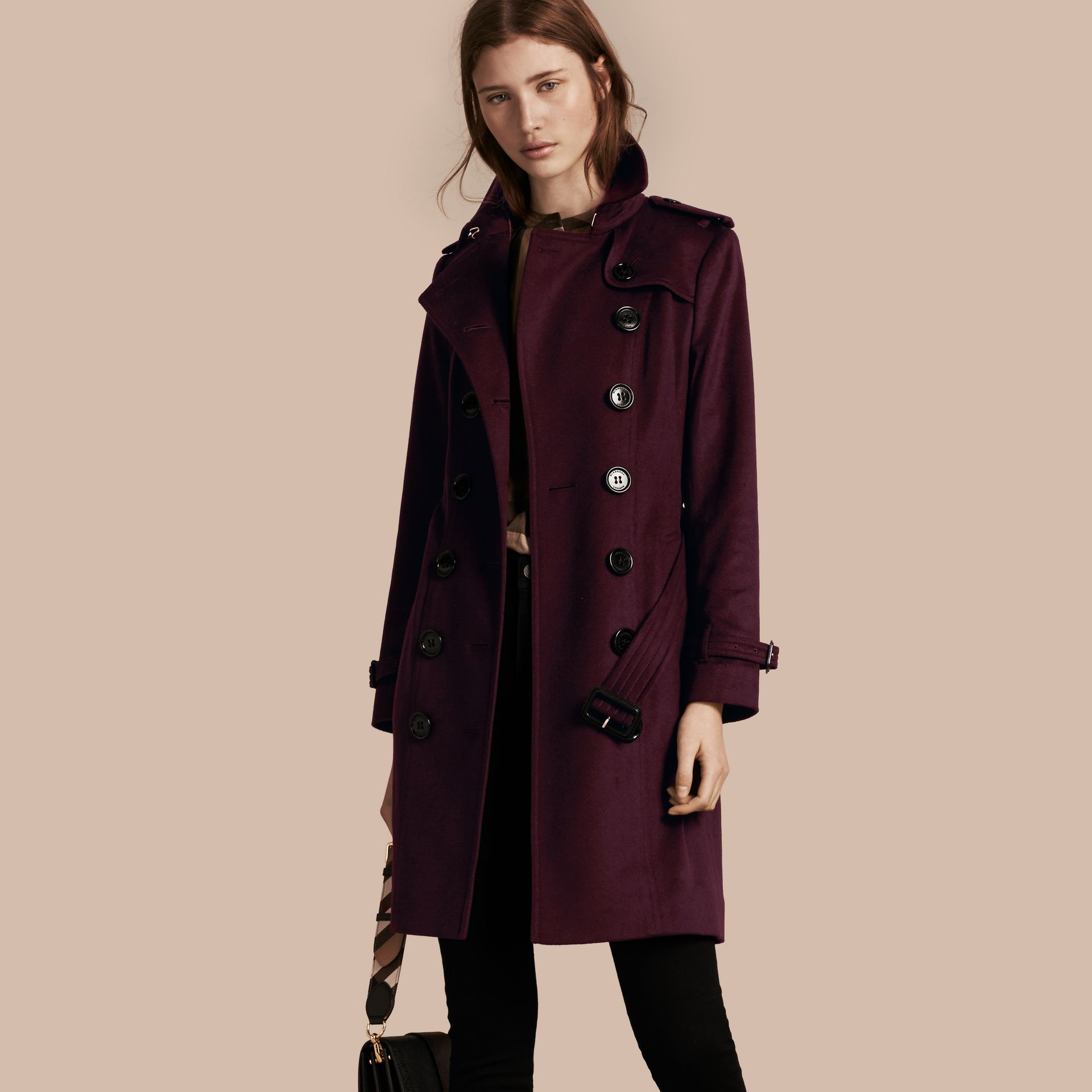 Plum Sandringham Fit Cashmere Trench Coat Plum - gallery image 1