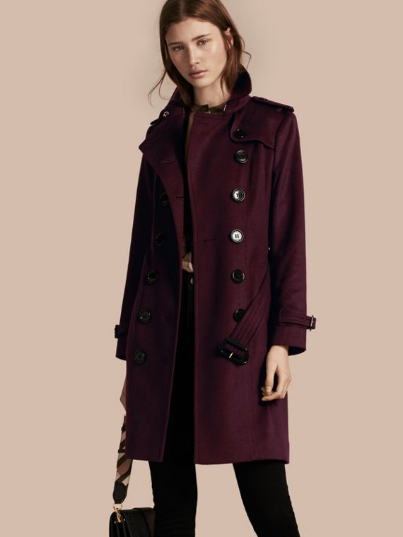 Sandringham Fit Cashmere Trench Coat Plum