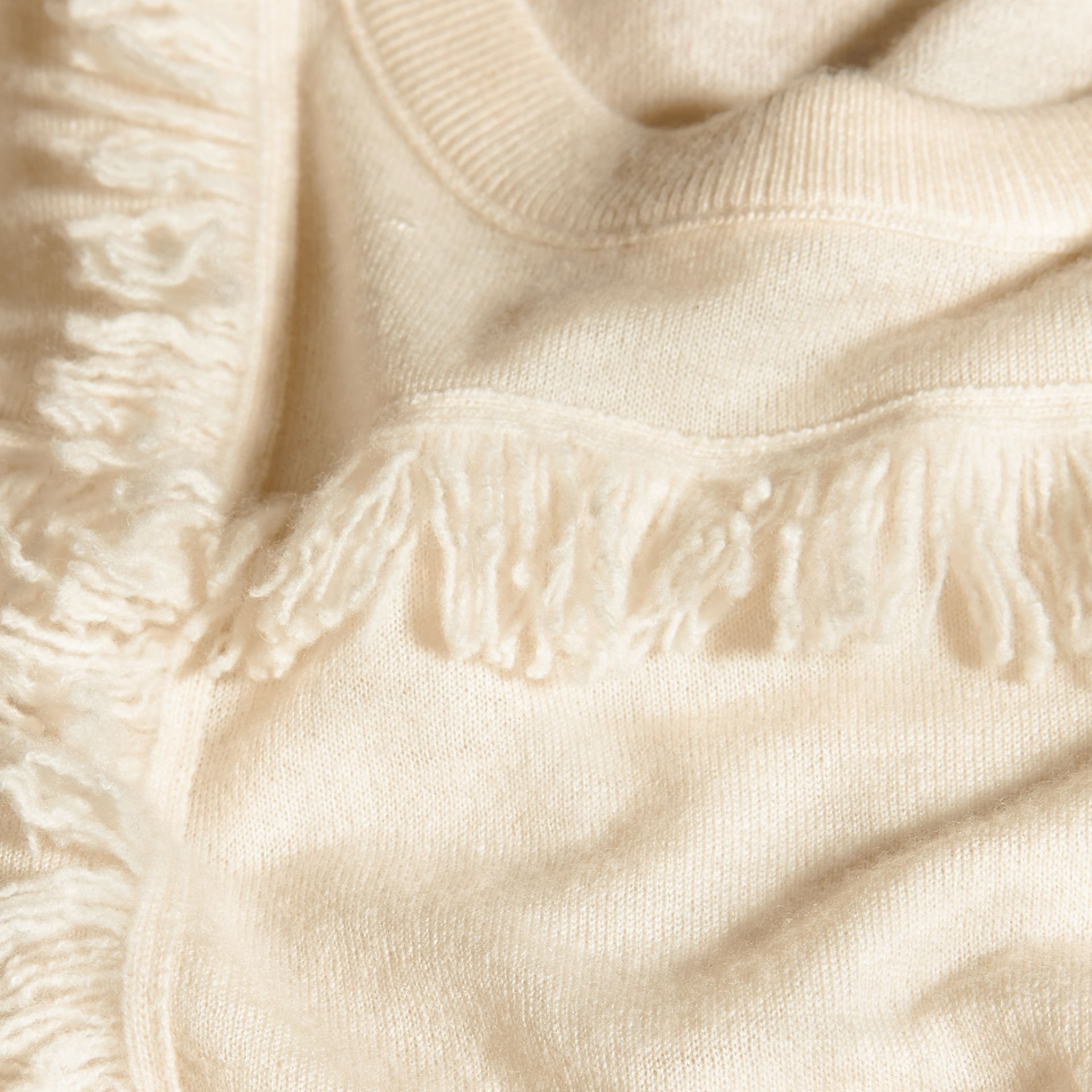 Natural white Fringed Cashmere Sweater - gallery image 2