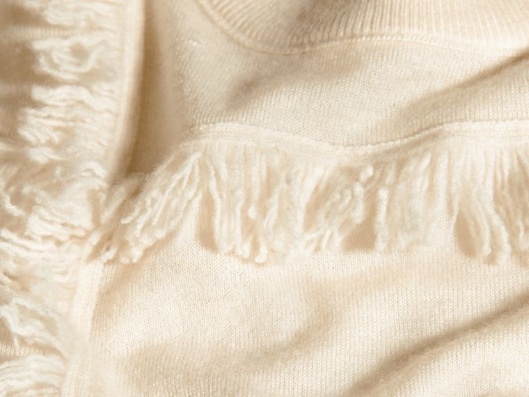 Natural white Fringed Cashmere Sweater - cell image 1