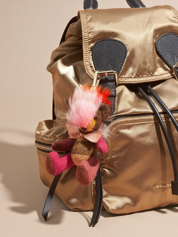 Thomas Bear Charm with Rainbow Shearling Trim in Ash Rose - Women | Burberry - cell image 2