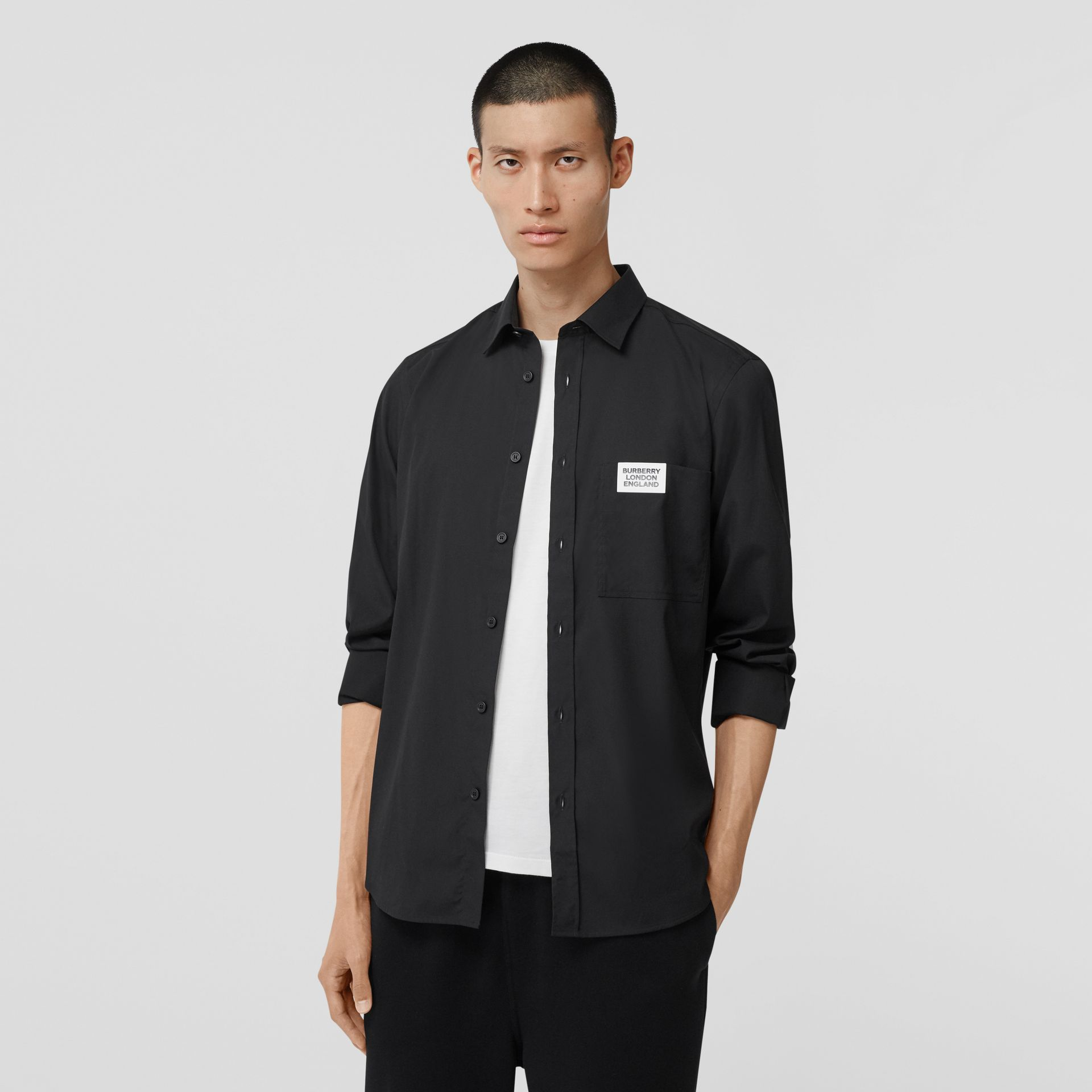 Logo Detail Stretch Cotton Poplin Shirt in Black - Men | Burberry Canada - gallery image 4