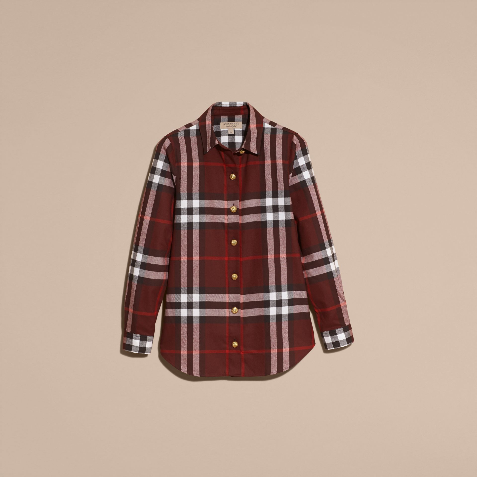 Claret Fitted Cotton Flannel Military Check Shirt - gallery image 4