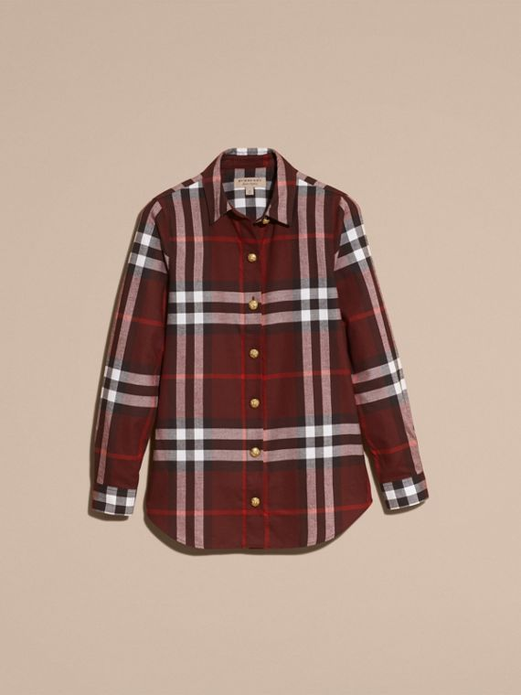 Claret Fitted Cotton Flannel Military Check Shirt - cell image 3