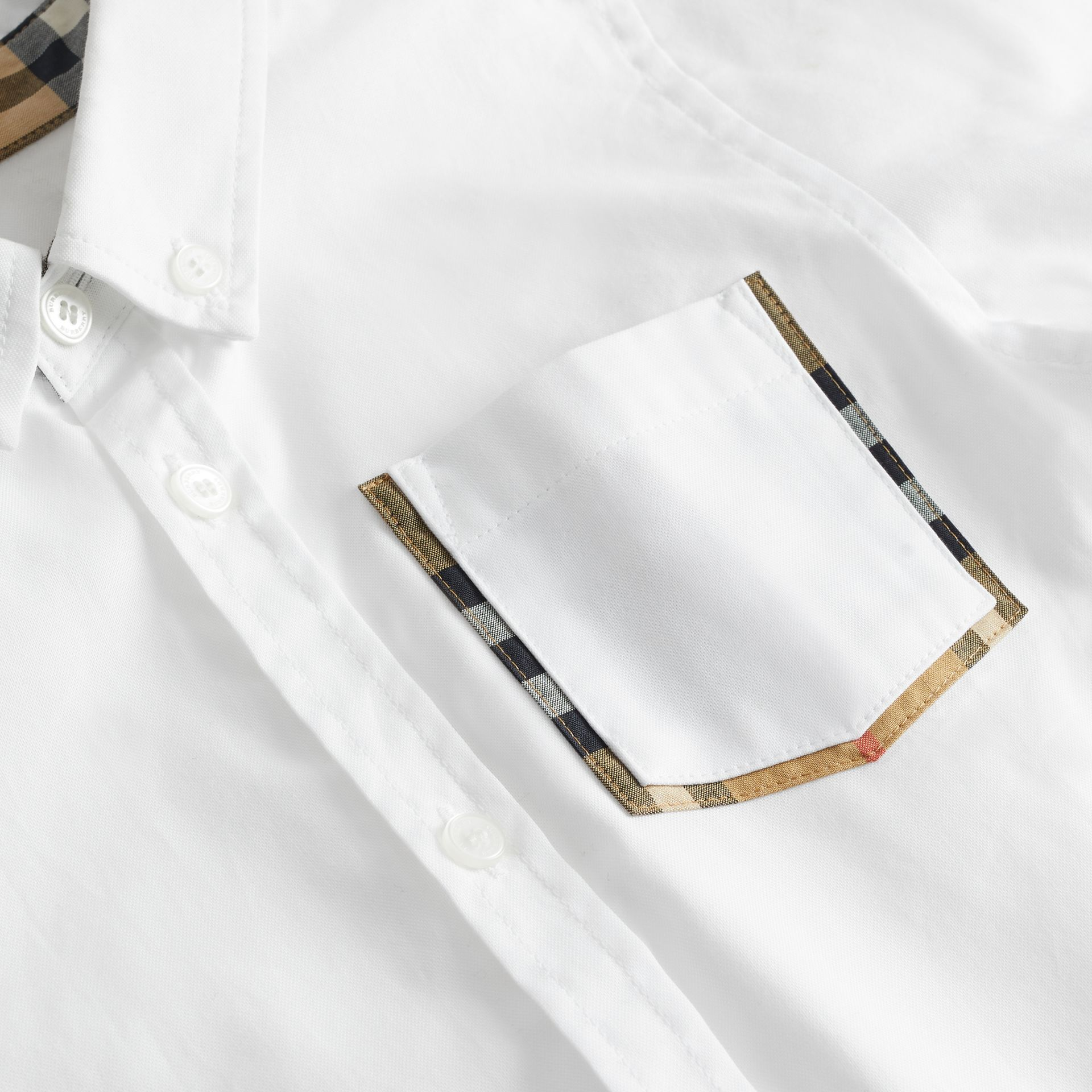 Check Detail Cotton Oxford Shirt in White | Burberry Canada - gallery image 1