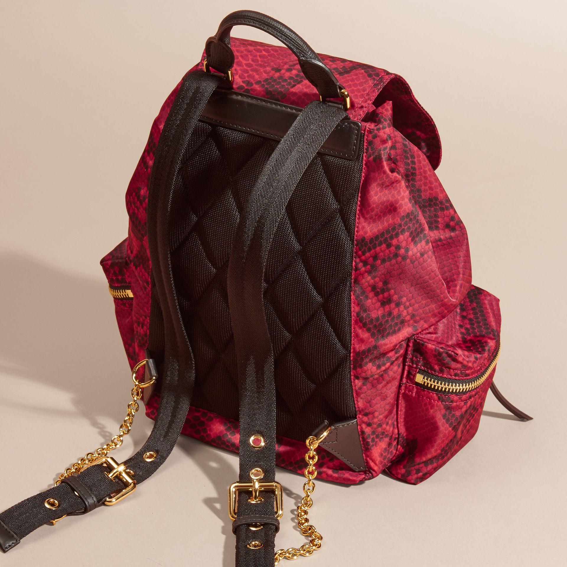 Burgundy red The Medium Rucksack in Python Print Nylon and Leather Burgundy Red - gallery image 4