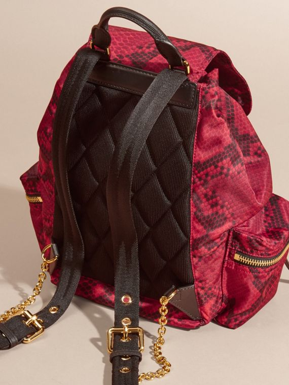 Burgundy red The Medium Rucksack in Python Print Nylon and Leather Burgundy Red - cell image 3