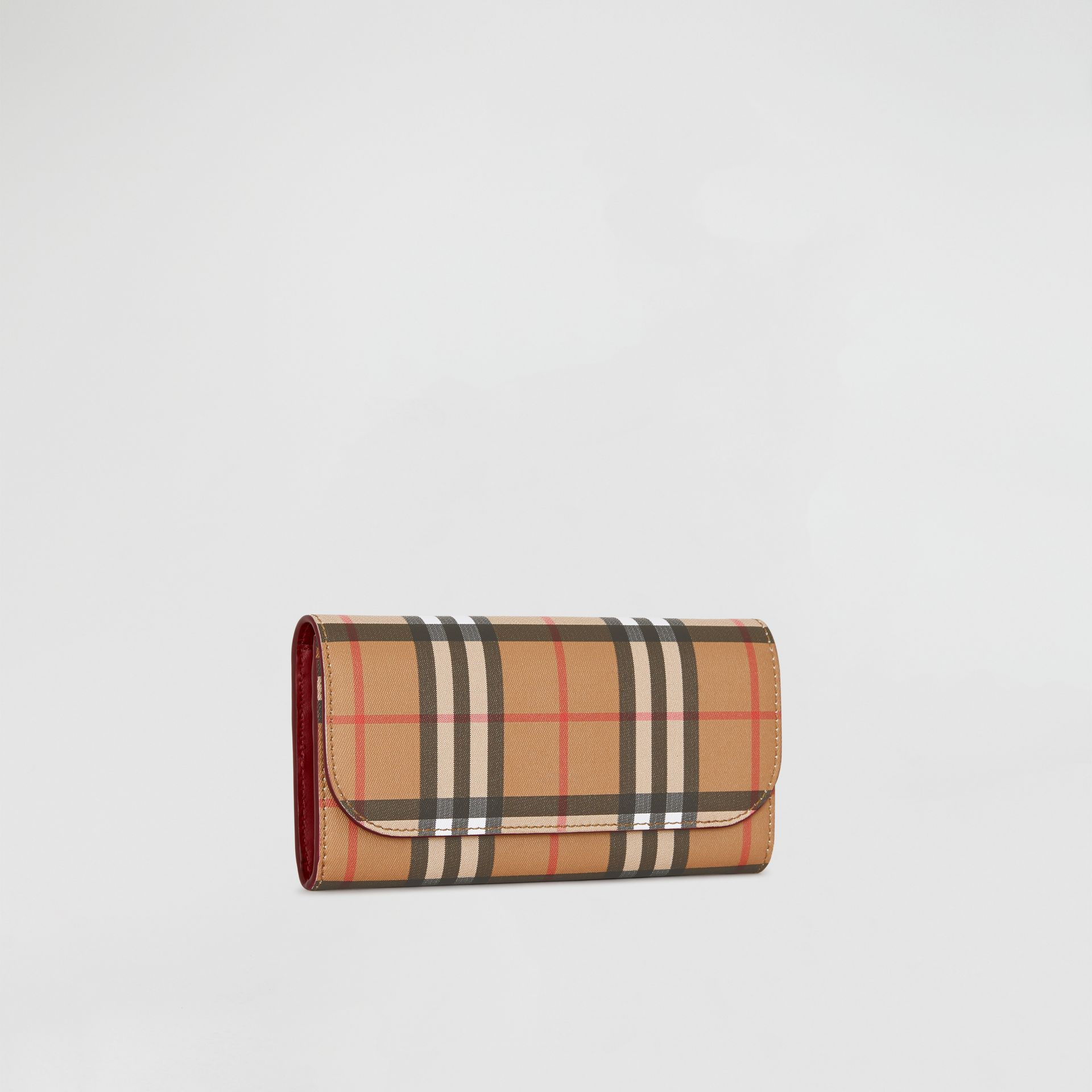 Vintage Check and Leather Continental Wallet in Crimson - Women | Burberry Singapore - gallery image 3
