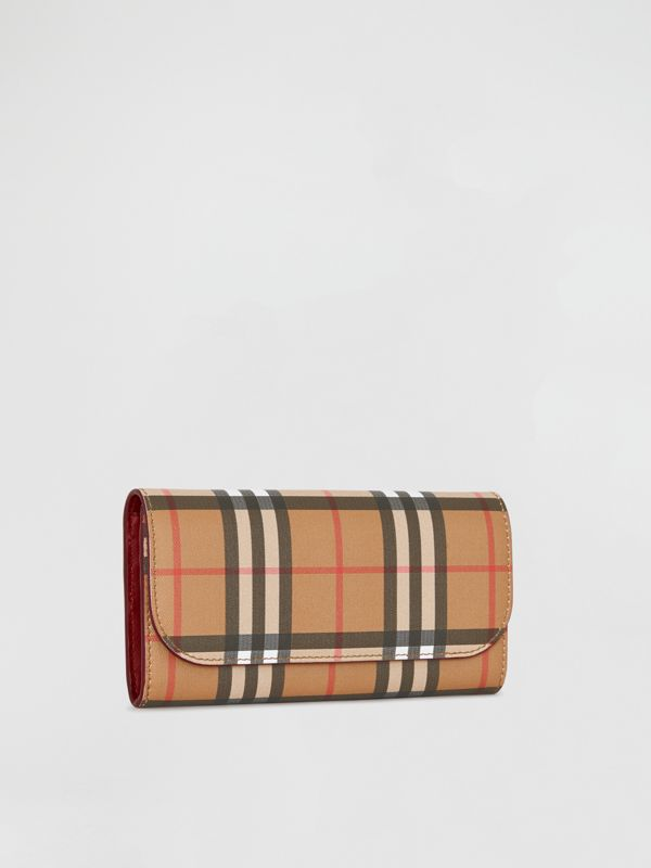 Vintage Check and Leather Continental Wallet in Crimson - Women | Burberry - cell image 3