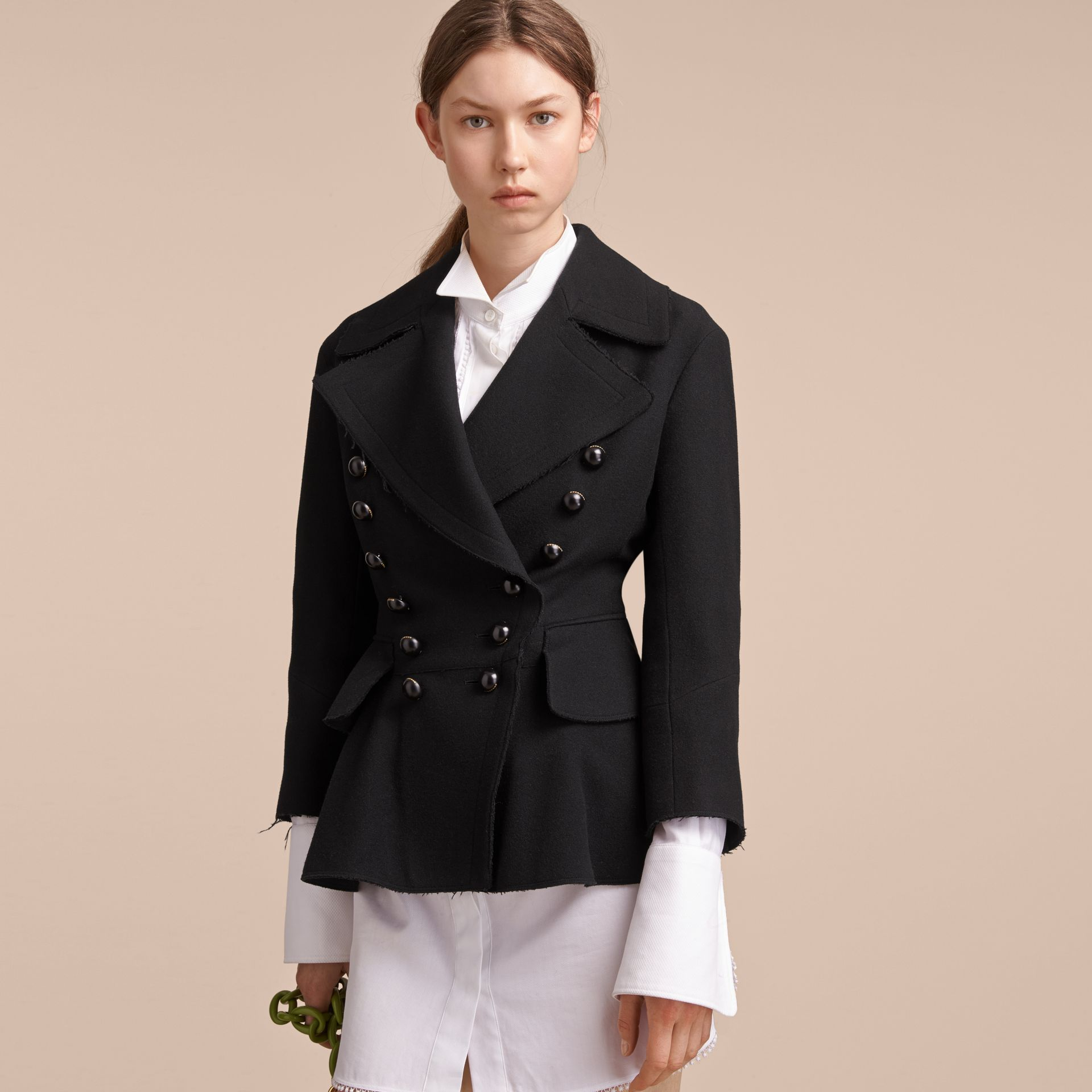 Wool Blend Peplum Jacket in Black - Women | Burberry - gallery image 1