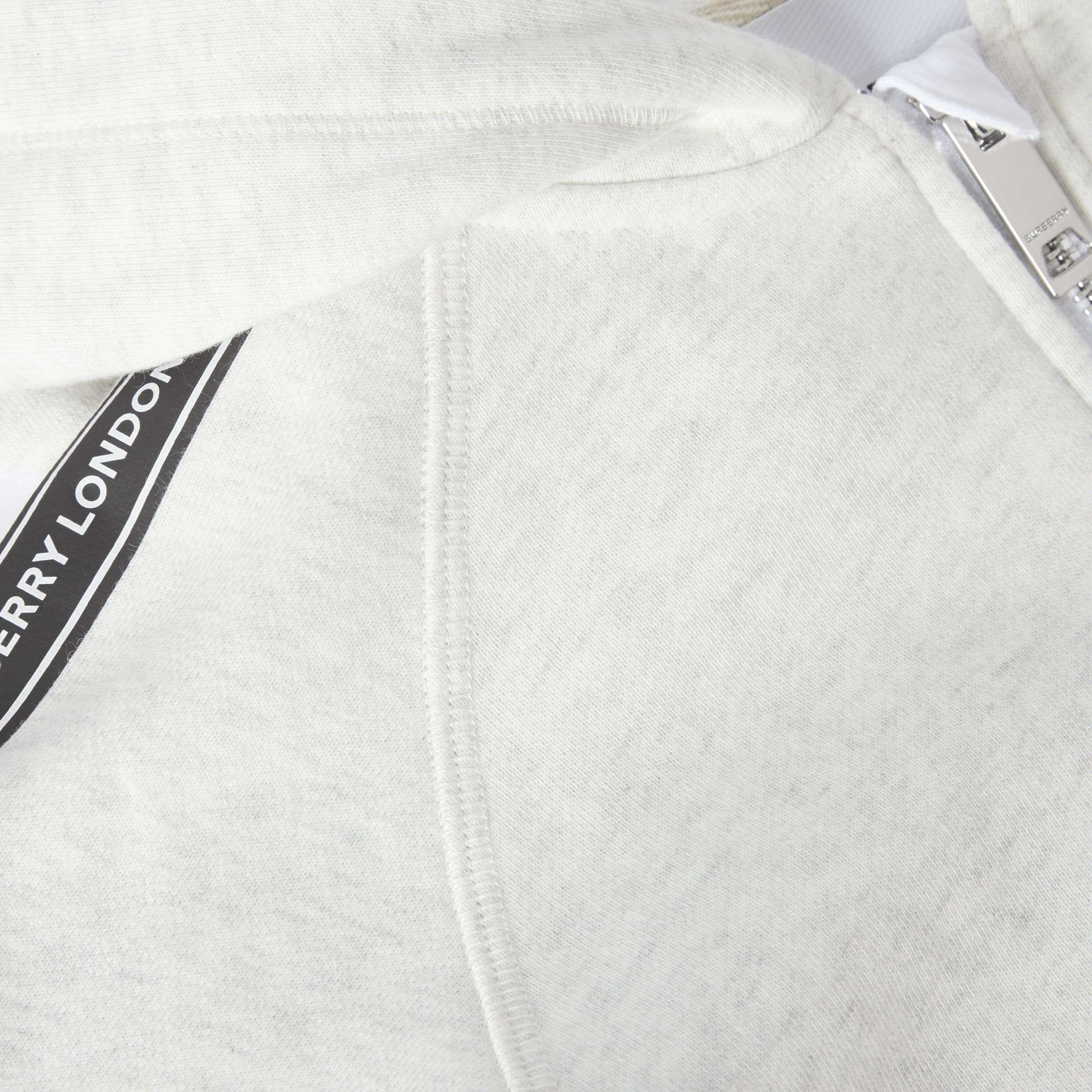 Logo Tape Cotton Hooded Top in White Melange | Burberry - 2