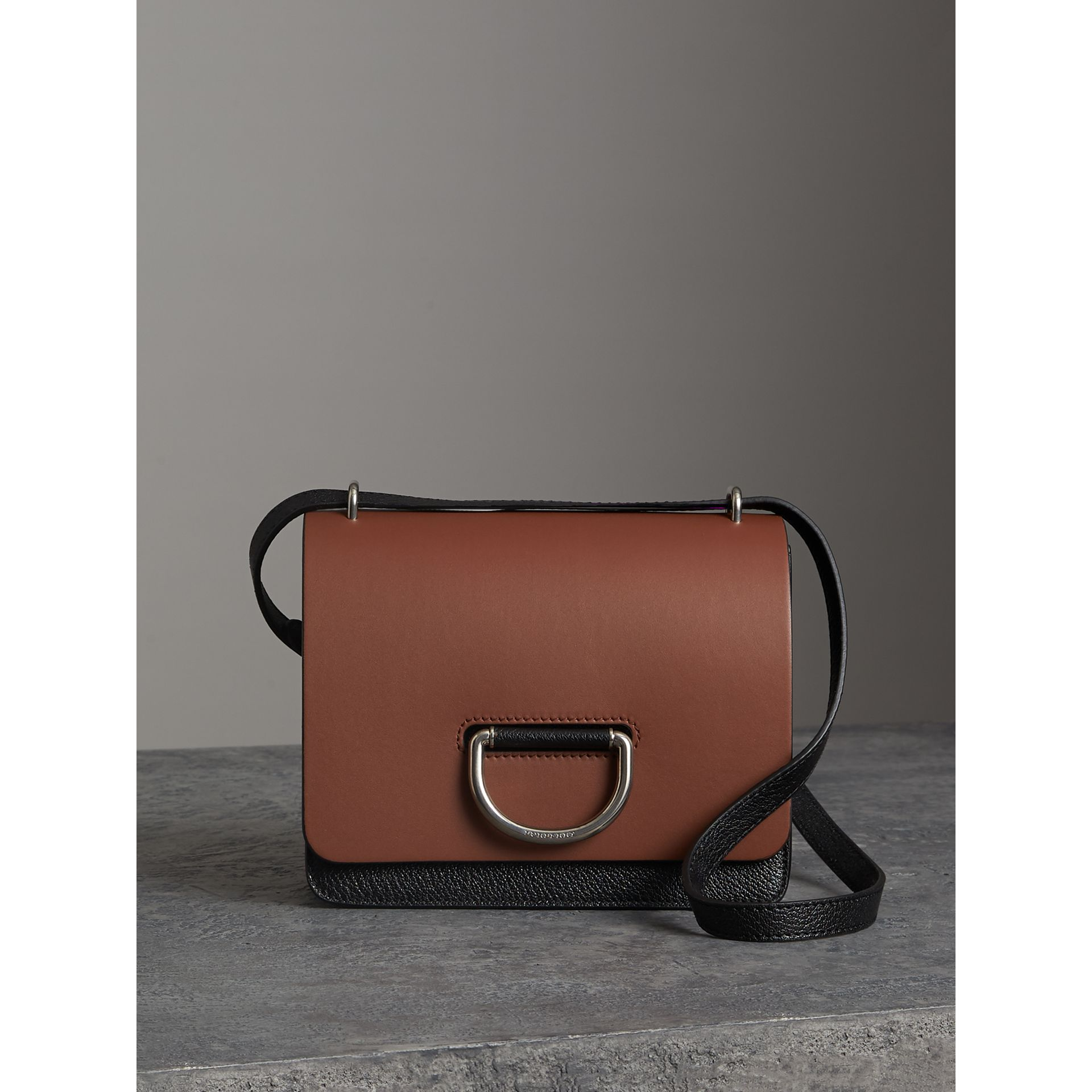 The Small Leather D-ring Bag in Tan/black - Women | Burberry - gallery image 0