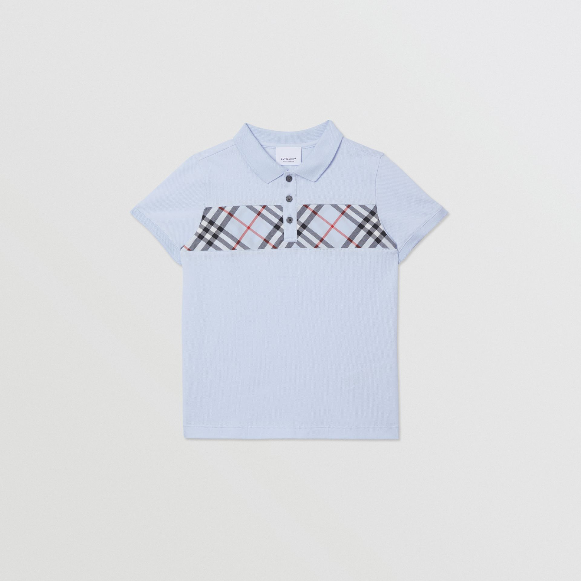 Check Panel Cotton Polo Shirt in Light Blue | Burberry - gallery image 0