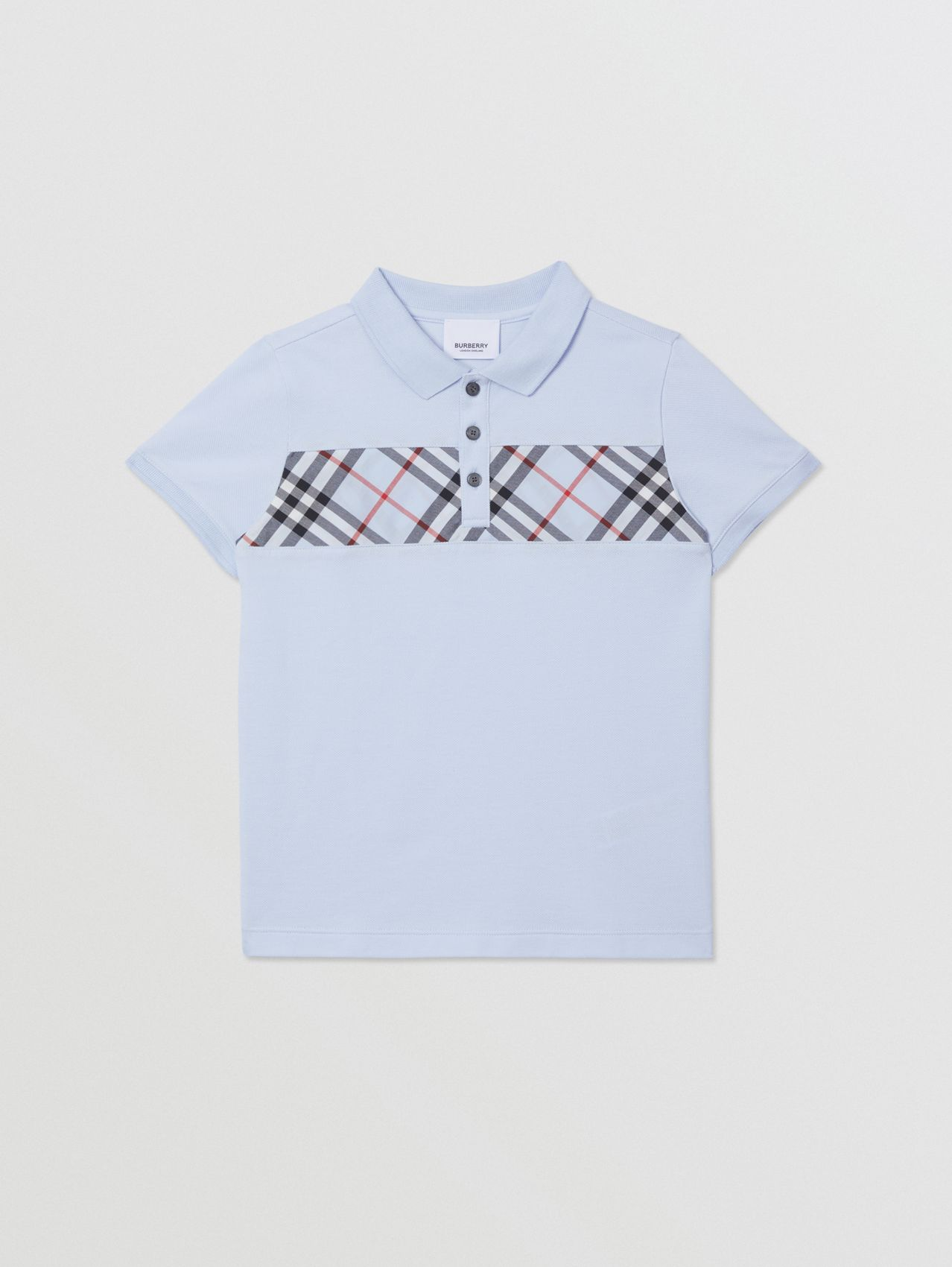 Check Panel Cotton Polo Shirt in Light Blue