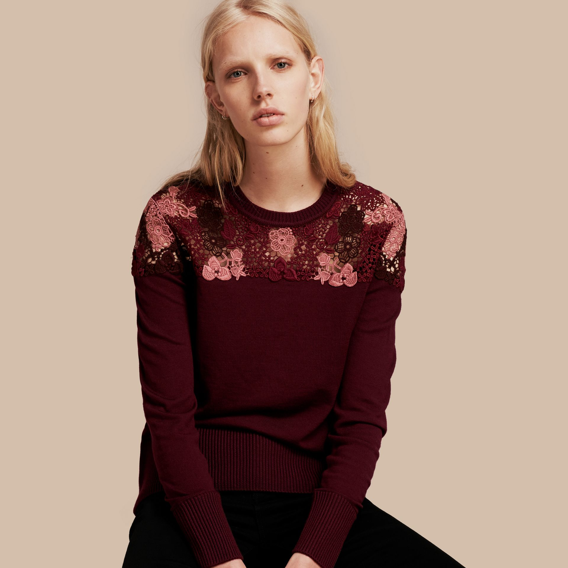 Deep claret Lace Yoke Merino Wool Sweater Deep Claret - gallery image 1