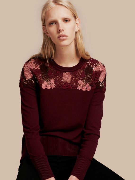 Lace Yoke Merino Wool Sweater Deep Claret