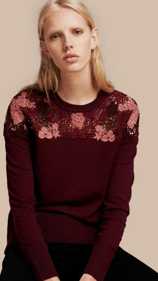 Lace Yoke Merino Wool Sweater