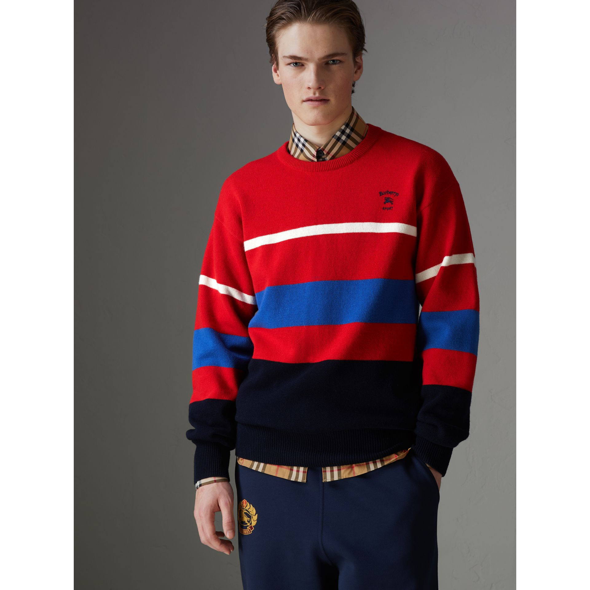 Reissued Lambswool Sweater in Red - Men | Burberry Singapore - gallery image 4