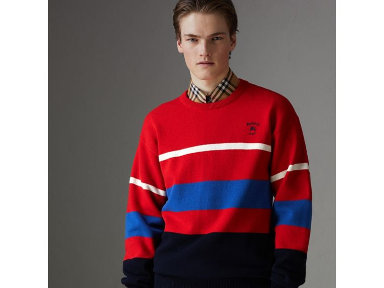 Reissued Lambswool Sweater in Red - Men | Burberry - cell image 4