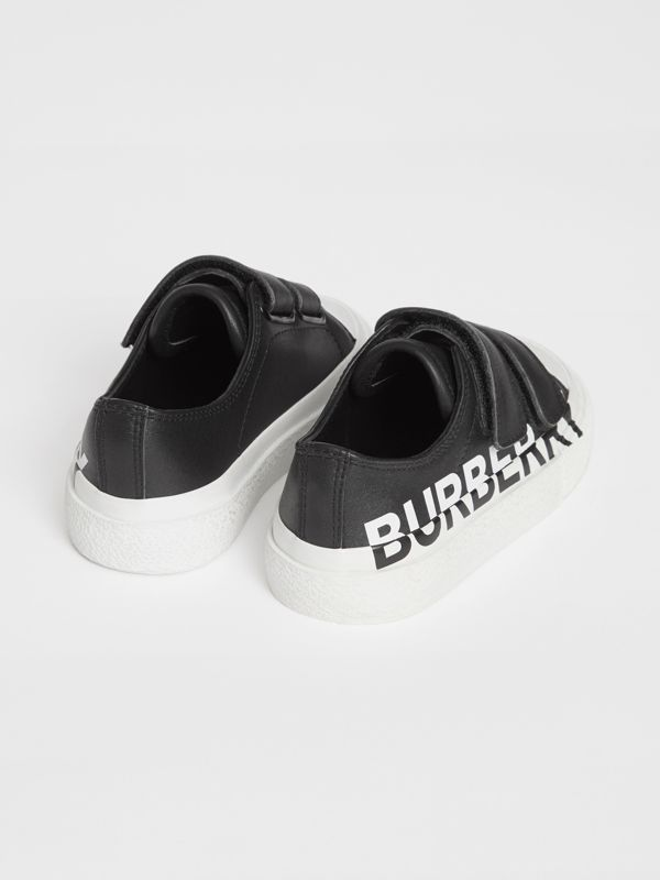 Logo Print Two-tone Leather Sneakers in Black/white - Children | Burberry - cell image 2
