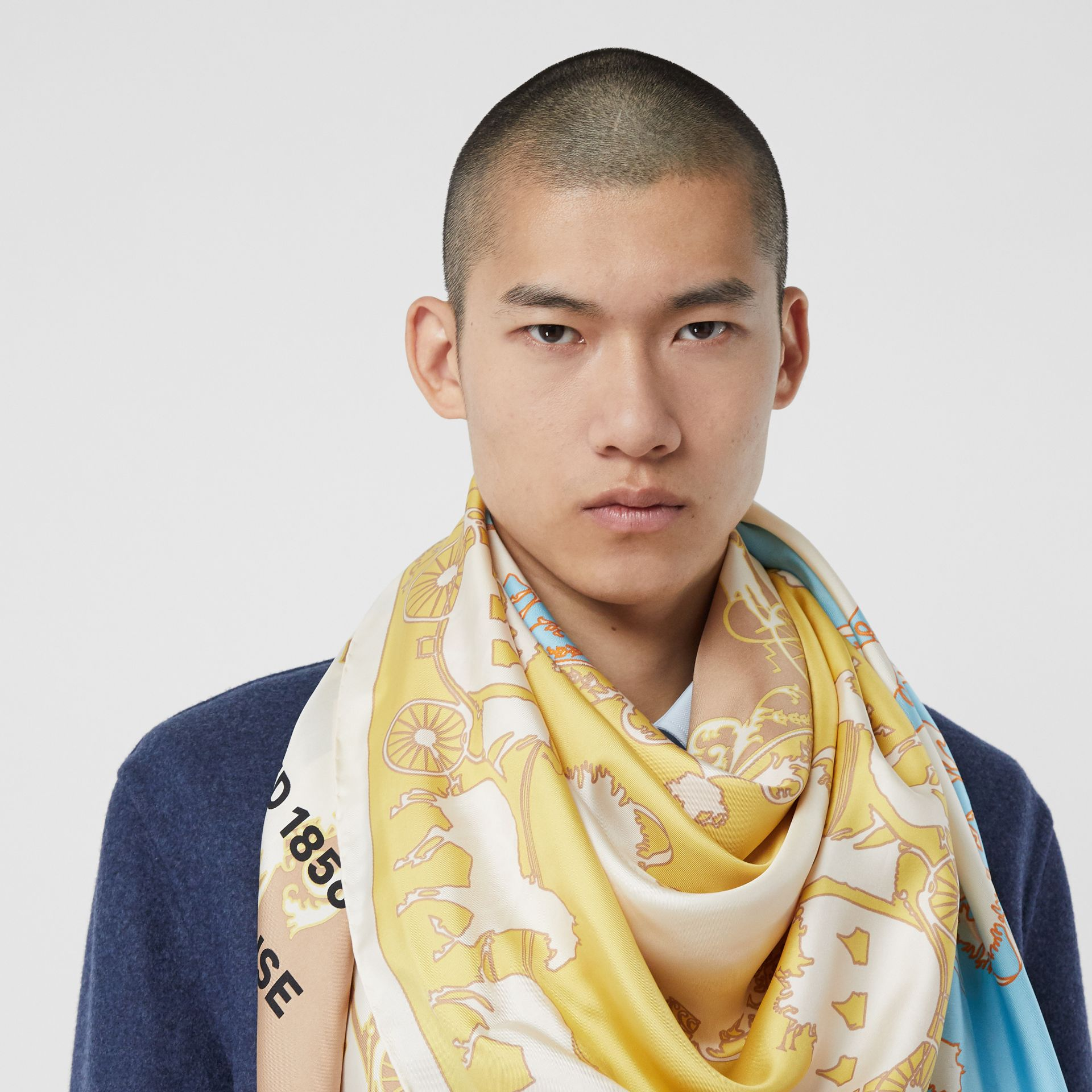 Archive Scarf Print Silk Large Square Scarf in Multicolour | Burberry - gallery image 3