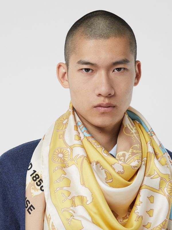 Archive Scarf Print Silk Large Square Scarf in Multicolour | Burberry - cell image 3