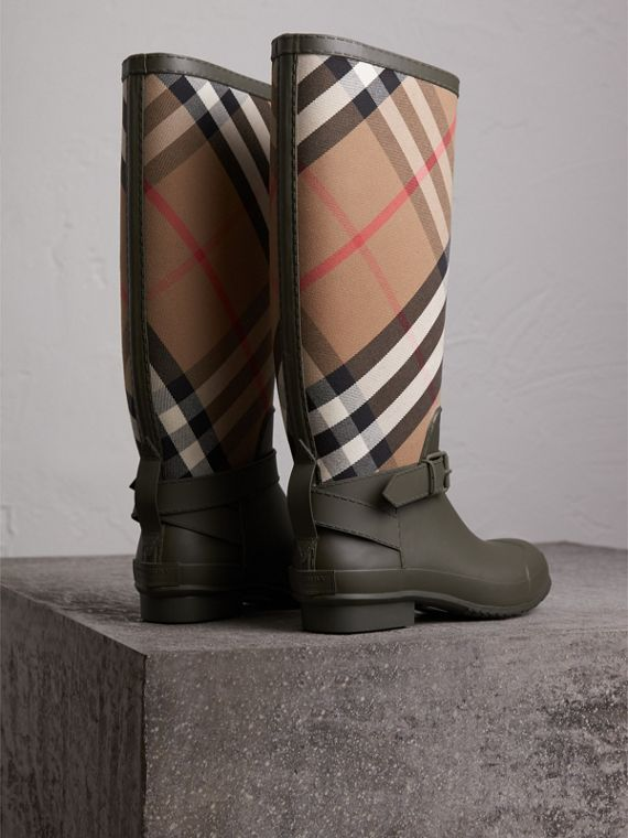 Belt Detail House Check and Rubber Rain Boots in Military Green - Men | Burberry Australia - cell image 3