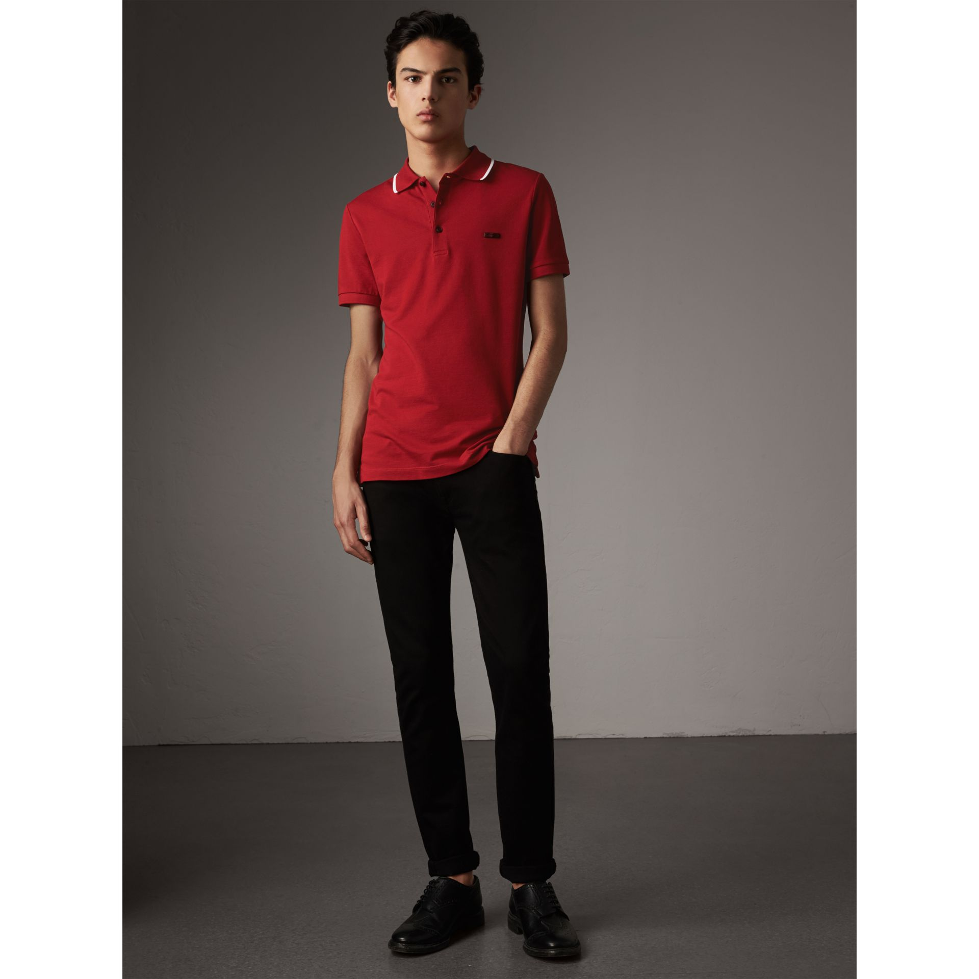 Tipped Collar Cotton Piqué Polo Shirt in Military Red - Men | Burberry - gallery image 5
