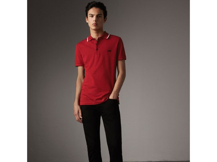 Tipped Collar Cotton Piqué Polo Shirt in Military Red - Men | Burberry - cell image 4