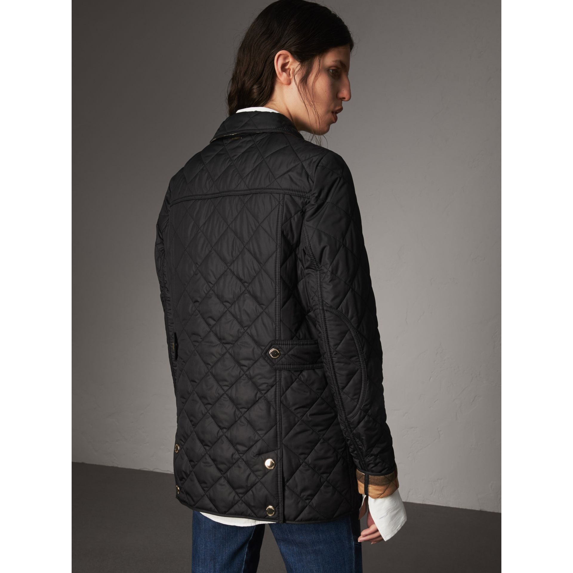 Check Detail Diamond Quilted Jacket in Black - Women | Burberry - gallery image 2