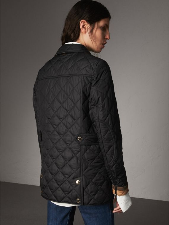 Check Detail Diamond Quilted Jacket in Black - Women | Burberry - cell image 2