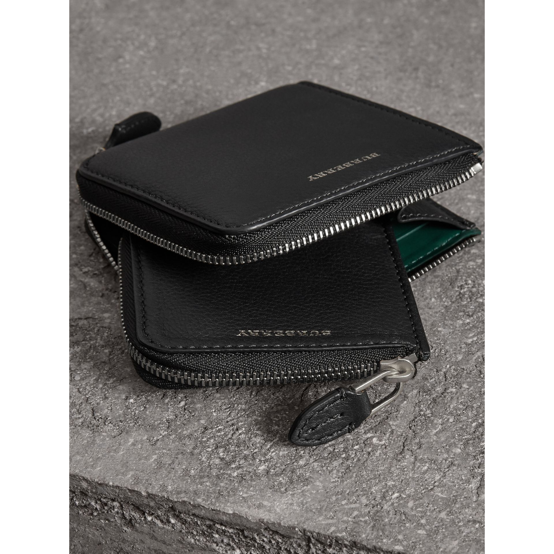 Grainy Leather Square Ziparound Wallet in Black - Women | Burberry - gallery image 3
