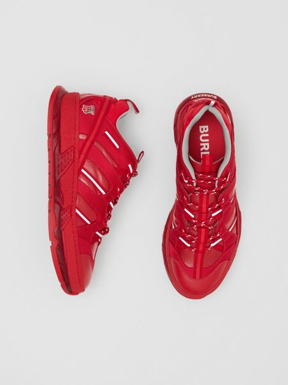 Nylon and Leather Union Sneakers in Bright Red