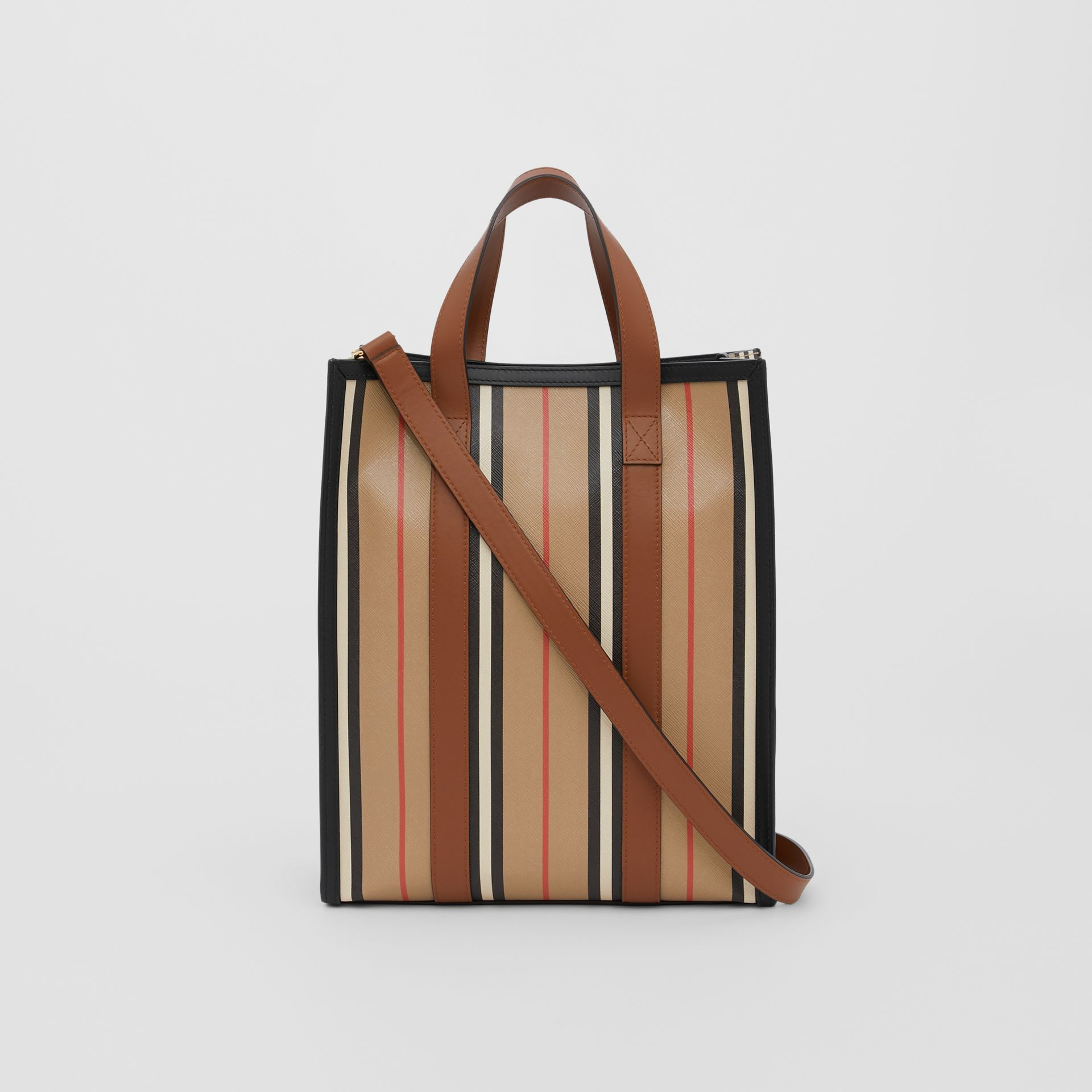 Small Icon Stripe E-canvas Portrait Tote Bag in Archive Beige - Women | Burberry United Kingdom - gallery image 5
