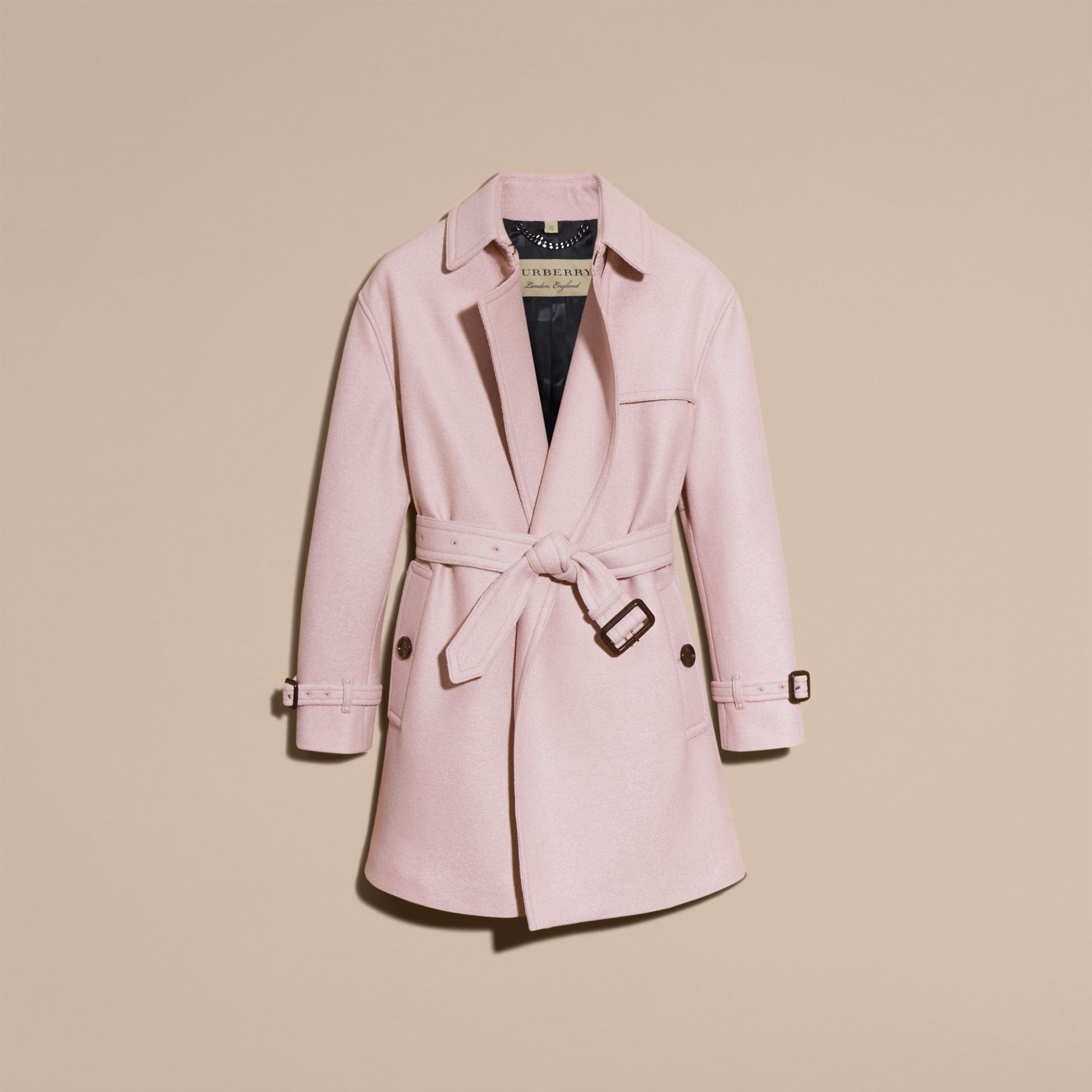 Pale orchid Wool Wrap Trench Coat - gallery image 4