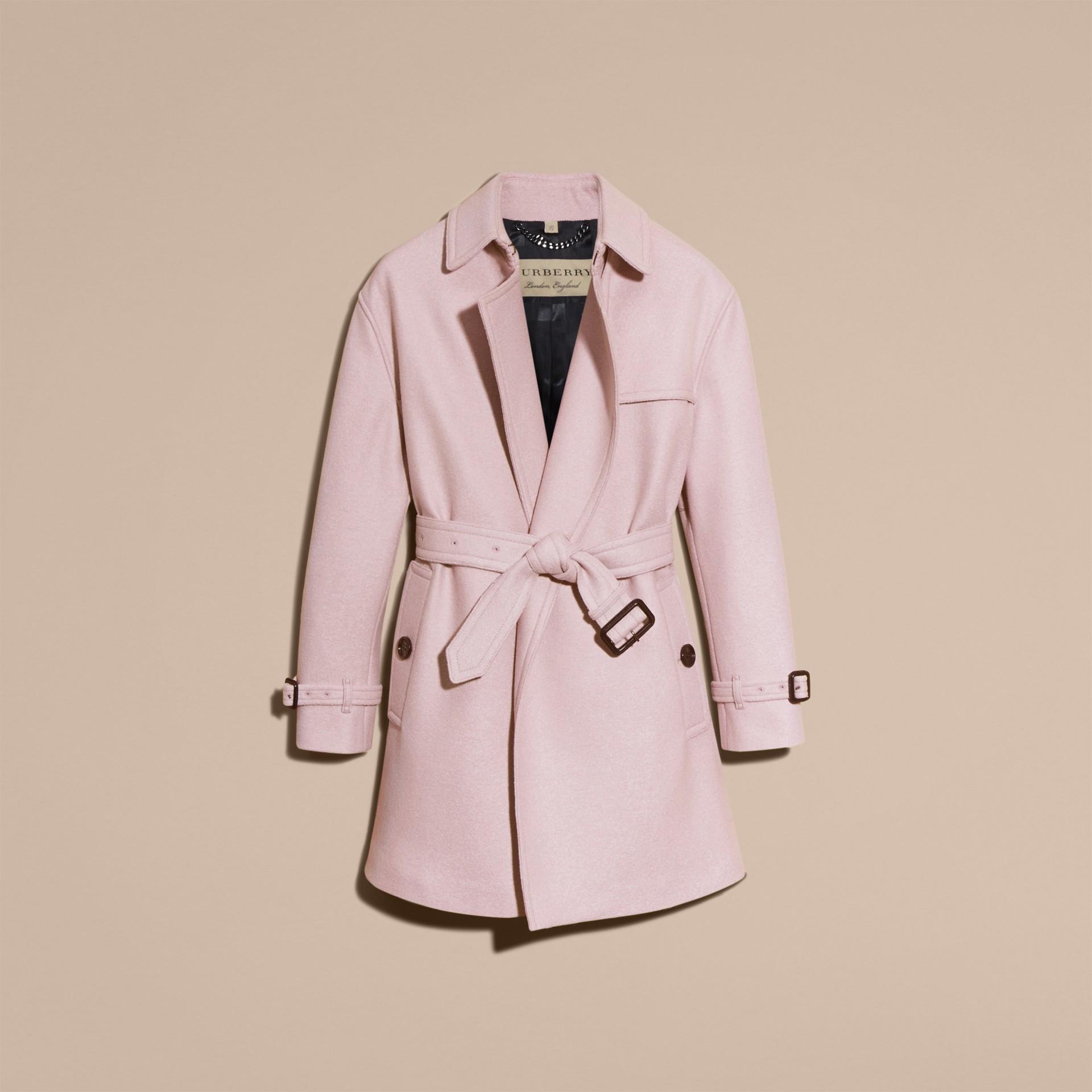 Orchidée pâle Trench-coat portefeuille en laine - photo de la galerie 4