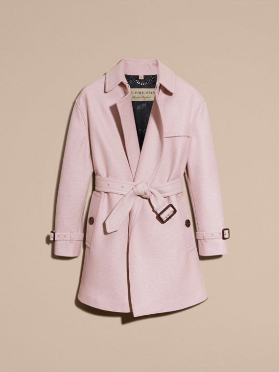 Pale orchid Wool Wrap Trench Coat - cell image 3