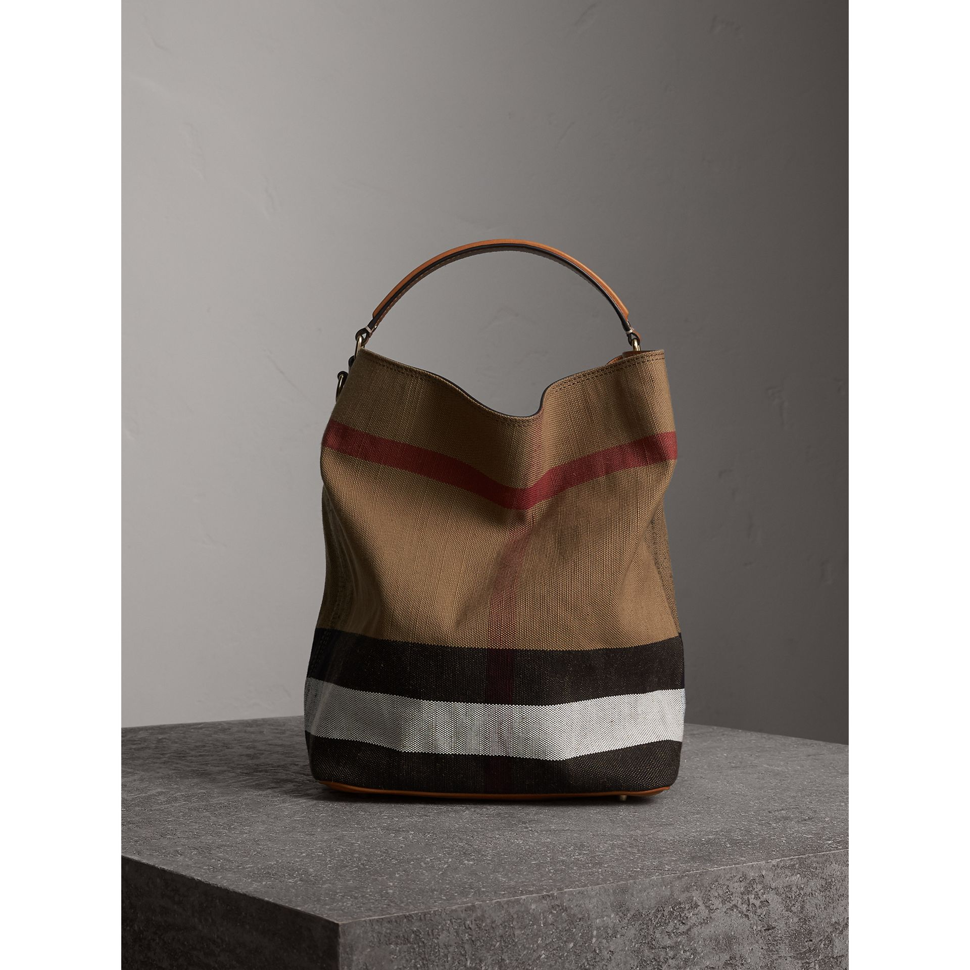 Medium Canvas Check Hobo Bag in Saddle Brown - Women | Burberry - gallery image 1