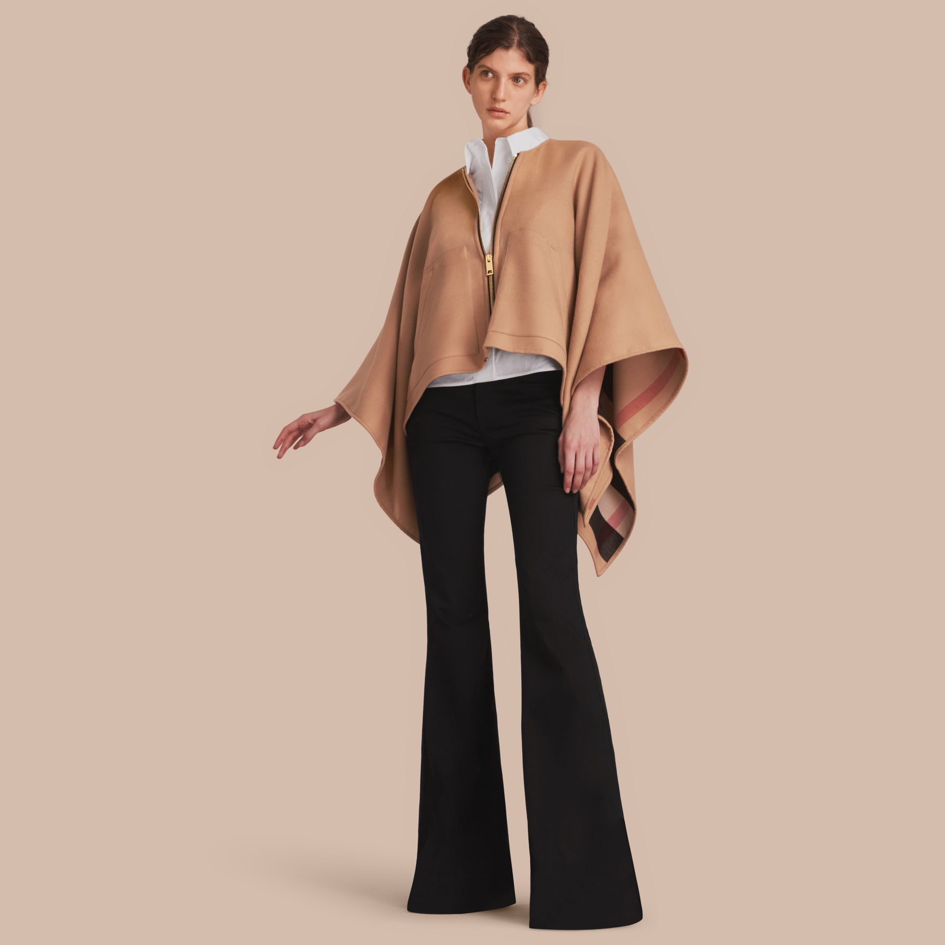 Merino Wool Poncho in Camel - Women | Burberry - gallery image 1