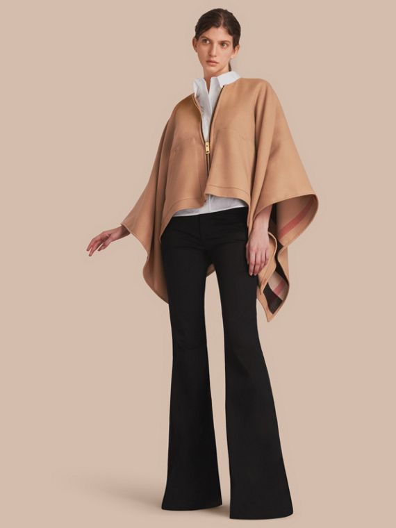 Merino Wool Poncho in Camel - Women | Burberry Canada