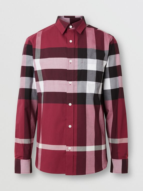 Check Stretch Cotton Shirt in Plum Pink