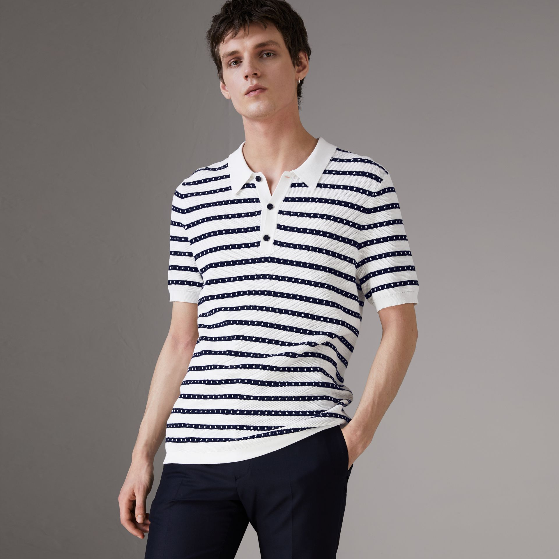 Striped Knitted Cotton Polo Shirt in Natural White - Men | Burberry - gallery image 0