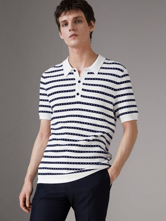 Striped Knitted Cotton Polo Shirt in Natural White