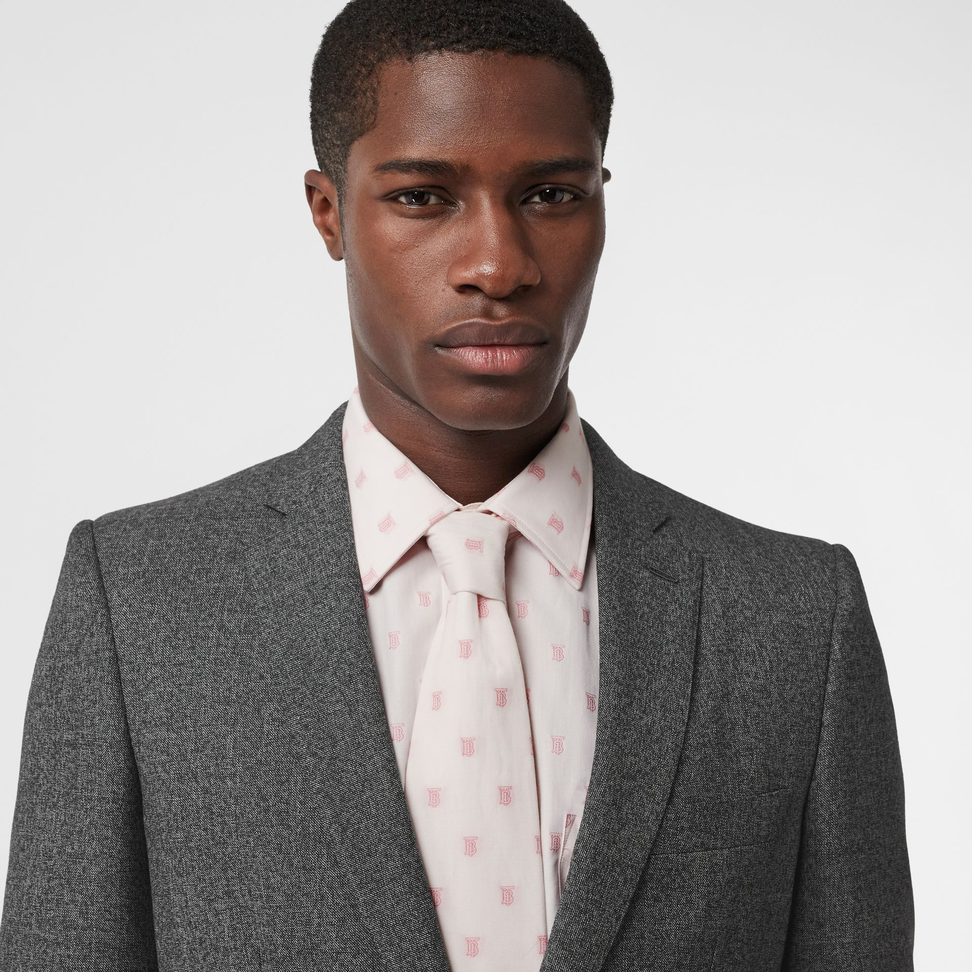 English Fit Sharkskin Wool Suit in Black Melange - Men | Burberry Canada - gallery image 1