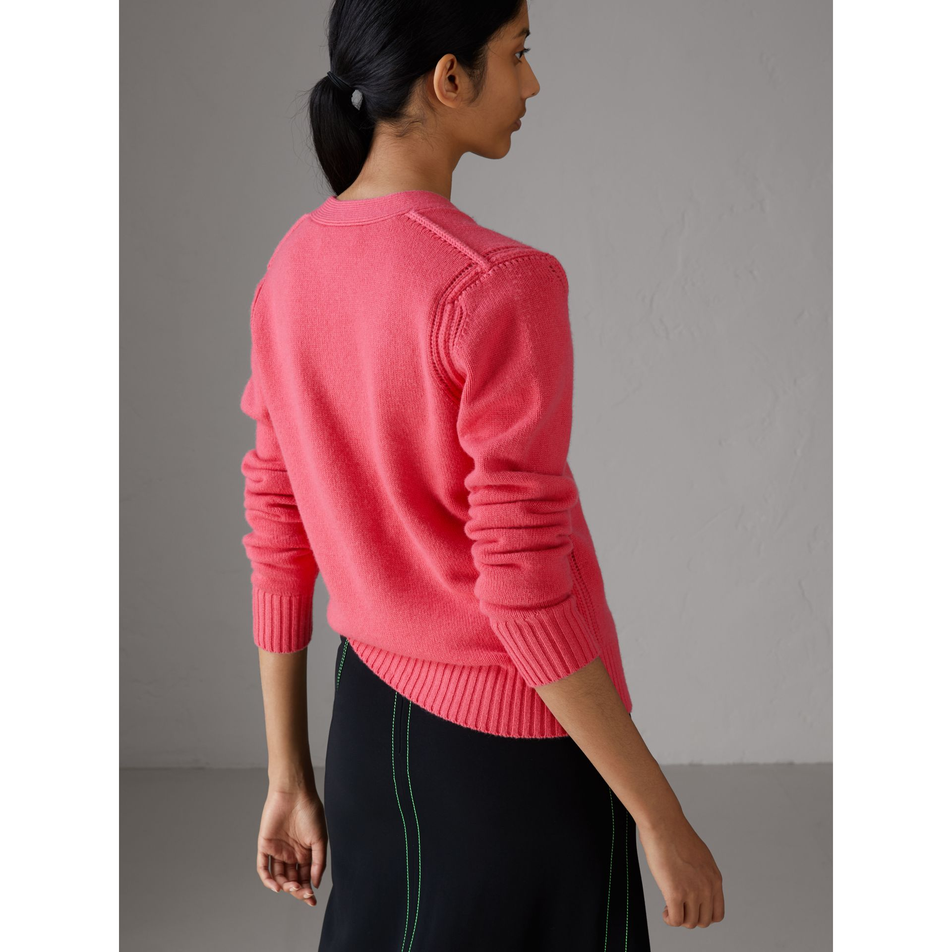 Bird Button Cashmere Cardigan in Rose Pink - Women | Burberry Canada - gallery image 2