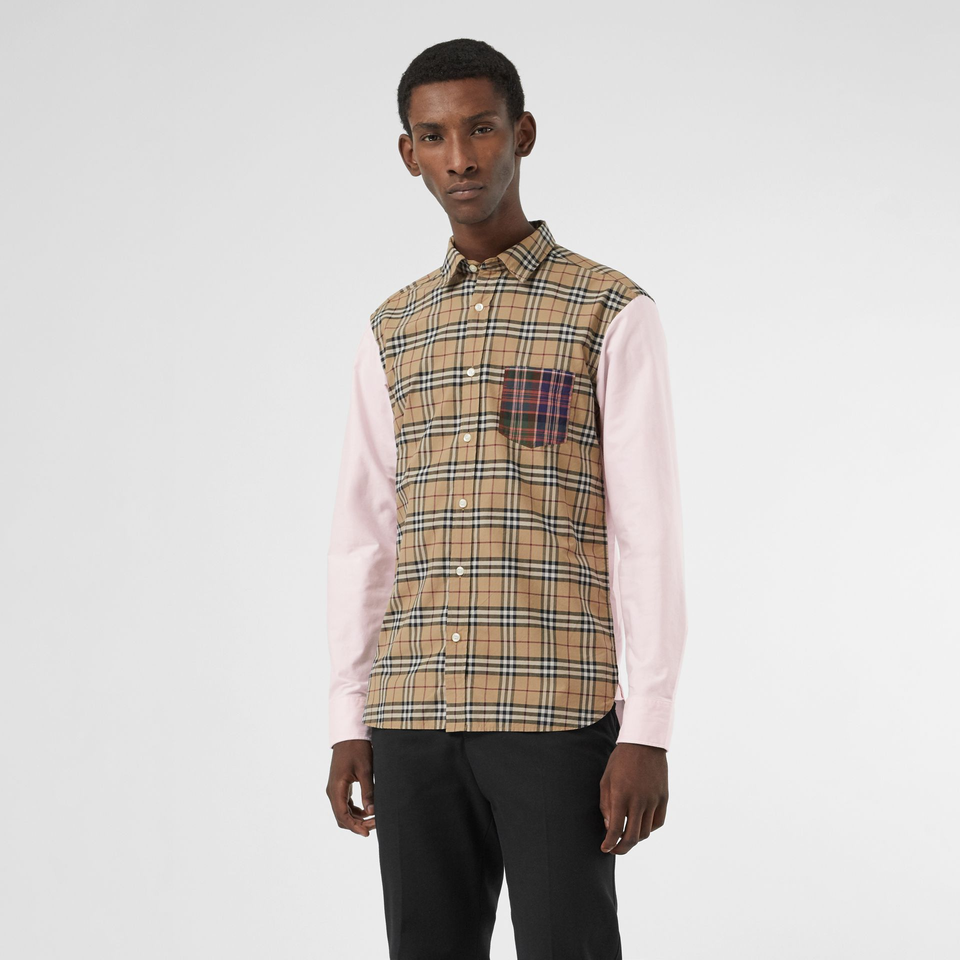 Contrast Check Panelled Cotton Shirt in Camel - Men | Burberry United States - gallery image 0