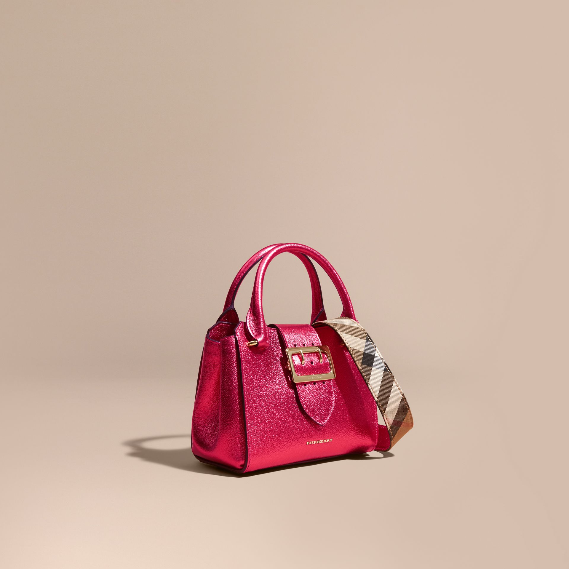 The Small Buckle Tote in Metallic Leather Bright Pink - gallery image 1