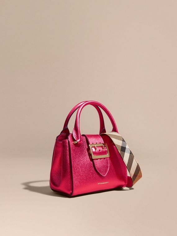 The Small Buckle Tote in Metallic Leather Bright Pink
