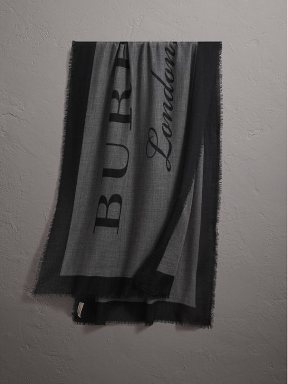 Graphic Print Motif  Lightweight Cashmere Scarf in Mid Grey